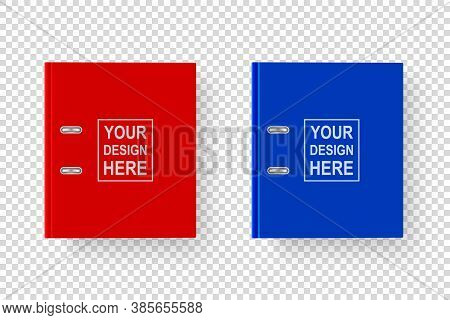 Vector 3d Closed Realistic Red And Blue Blank Office Binder With Metal Rings For A4 Paper Sheet Clos
