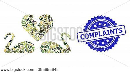 Military Camouflage Collage Of Divorce Swans, And Complaints Corroded Rosette Seal Print. Blue Seal