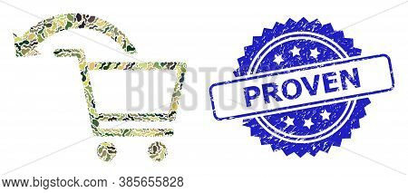 Military Camouflage Combination Of Cancel Shopping Order, And Proven Textured Rosette Stamp Seal. Bl
