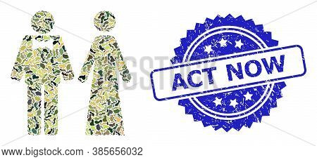 Military Camouflage Collage Of Just Married Persons, And Act Now Scratched Rosette Stamp. Blue Stamp