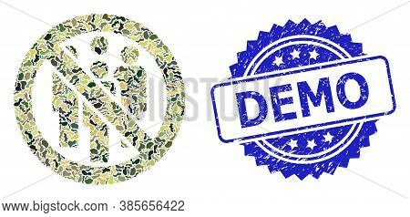 Military Camouflage Collage Of Forbidden Crowd, And Demo Corroded Rosette Stamp Seal. Blue Stamp Sea