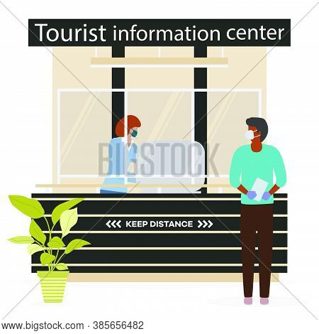 Vector Illustration Reopening Of Visitor Center After Coronavirus Specialist In Tourist Information