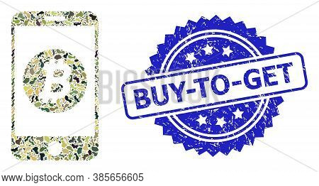 Military Camouflage Combination Of Mobile Bitcoin Bank, And Buy-to-get Unclean Rosette Stamp Seal. B