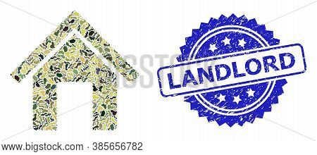 Military Camouflage Composition Of Home, And Landlord Rubber Rosette Stamp Seal. Blue Stamp Seal Has