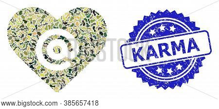 Military Camouflage Combination Of Dating Heart Address, And Karma Corroded Rosette Seal. Blue Stamp