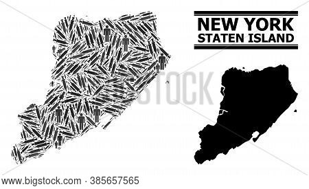 Vaccine Mosaic And Solid Map Of Staten Island. Vector Map Of Staten Island Is Organized From Vaccine