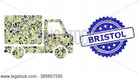 Military Camouflage Composition Of Delivery Car, And Bristol Scratched Rosette Seal. Blue Seal Has B