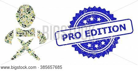 Military Camouflage Composition Of Butchery Worker, And Pro Edition Grunge Rosette Stamp Seal. Blue