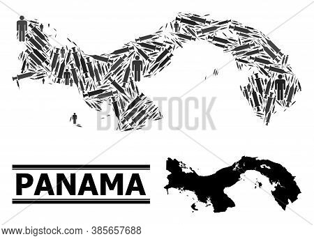 Virus Therapy Mosaic And Solid Map Of Panama. Vector Map Of Panama Is Composed From Vaccine Symbols