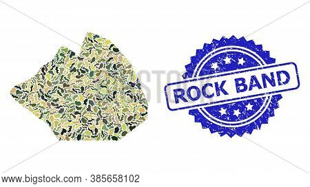 Military Camouflage Composition Of Rock Stone, And Rock Band Scratched Rosette Watermark. Blue Stamp