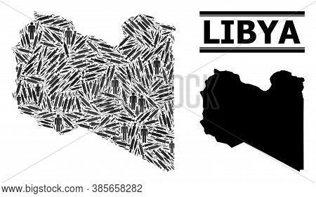 Vaccination Mosaic And Solid Map Of Libya. Vector Map Of Libya Is Composed Of Inoculation Icons And