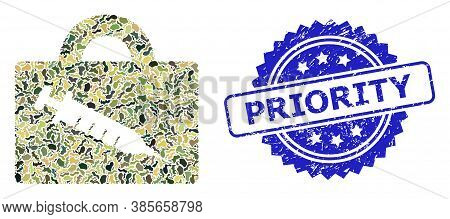 Military Camouflage Combination Of Vaccine Case, And Priority Scratched Rosette Seal. Blue Seal Incl