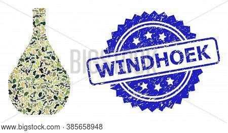 Military Camouflage Combination Of Wine Jug, And Windhoek Unclean Rosette Stamp Seal. Blue Stamp Sea