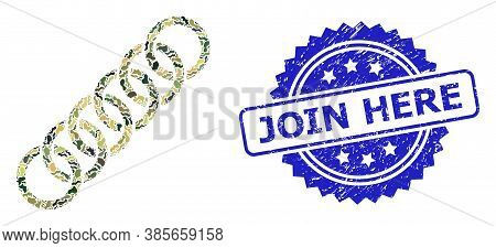 Military Camouflage Collage Of Circle Chain, And Join Here Rubber Rosette Stamp. Blue Stamp Seal Has