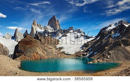 Laguna de Los Tres und Mount Fitz Roy, Los Glaciares Nationalpark, Patagonien, Argentinien