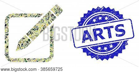 Military Camouflage Collage Of Edit Pencil, And Arts Textured Rosette Seal Print. Blue Stamp Contain