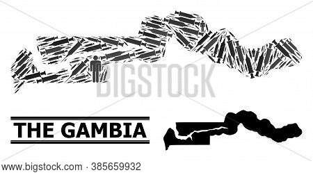 Syringe Mosaic And Solid Map Of The Gambia. Vector Map Of The Gambia Is Done From Injection Needles