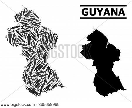 Covid-2019 Treatment Mosaic And Solid Map Of Guyana. Vector Map Of Guyana Is Organized With Inoculat