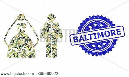 Military Camouflage Combination Of Marriage Persons, And Baltimore Textured Rosette Seal Print. Blue