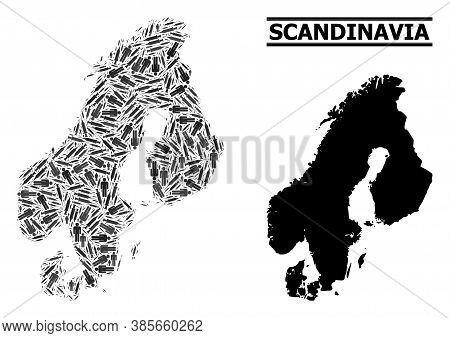 Vaccine Mosaic And Solid Map Of Scandinavia. Vector Map Of Scandinavia Is Formed From Vaccine Doses