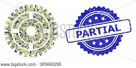 Military Camouflage Collage Of Clock Wheel, And Partial Grunge Rosette Seal Imitation. Blue Stamp Se