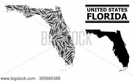Syringe Mosaic And Solid Map Of Florida State. Vector Map Of Florida State Is Made From Vaccine Dose