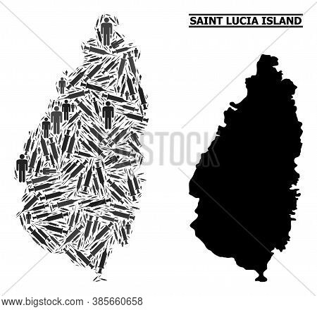 Virus Therapy Mosaic And Solid Map Of Saint Lucia Island. Vector Map Of Saint Lucia Island Is Compos