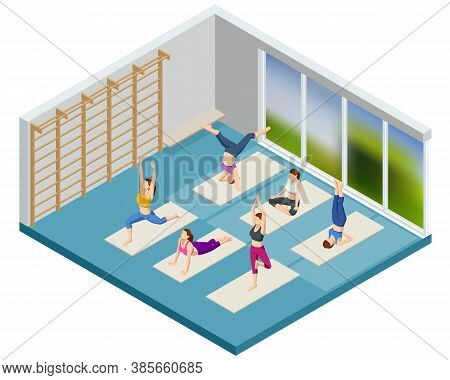 Isometric Sporty Young Women Doing Yoga. Yoga Practice Exercise Class. Fitness Instructor Taking Onl