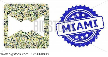 Military Camouflage Collage Of Bow Tie, And Miami Scratched Rosette Seal Print. Blue Seal Includes M