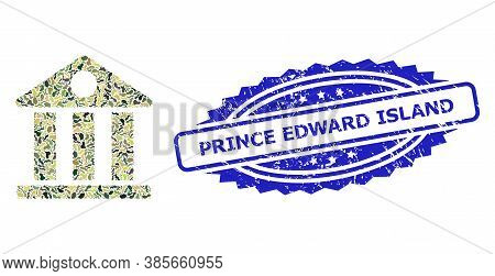 Military Camouflage Collage Of Museum, And Prince Edward Island Unclean Rosette Stamp. Blue Stamp Ha