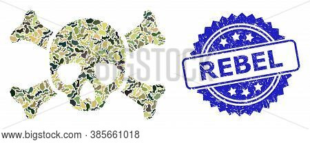 Military Camouflage Composition Of Death Skull, And Rebel Grunge Rosette Stamp Seal. Blue Seal Inclu