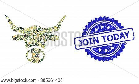 Military Camouflage Combination Of Cow Head, And Join Today Unclean Rosette Stamp. Blue Stamp Contai
