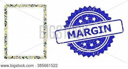 Military Camouflage Composition Of Empty Page, And Margin Unclean Rosette Seal. Blue Seal Includes M