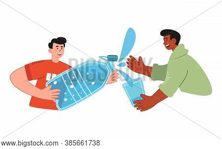 The Guy Pours Water Into A Friend's Glass From A Huge Bottle. World Water Day. Drink More Water. Con