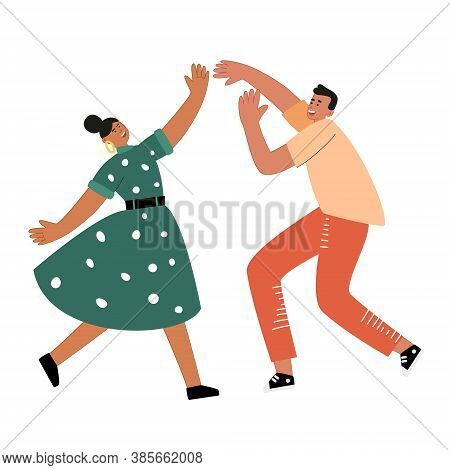 Couple Dancing At Retro Party. Dancing People Enjoy At A Dance Party. Modern Dance In A Club. Cute V