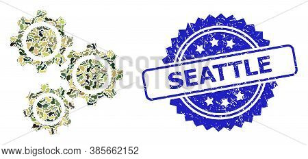 Military Camouflage Combination Of Gears, And Seattle Grunge Rosette Stamp Seal. Blue Stamp Has Seat