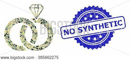 Military Camouflage Collage Of Jewelry Wedding Rings, And No Synthetic Grunge Rosette Stamp. Blue St