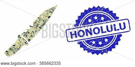 Military Camouflage Combination Of Knife, And Honolulu Dirty Rosette Stamp Seal. Blue Stamp Seal Inc