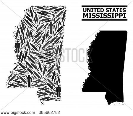 Syringe Mosaic And Solid Map Of Mississippi State. Vector Map Of Mississippi State Is Created Of Inj