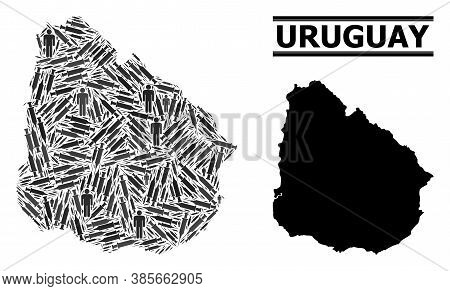 Virus Therapy Mosaic And Solid Map Of Uruguay. Vector Map Of Uruguay Is Created From Syringes And Me