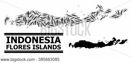 Vaccine Mosaic And Solid Map Of Indonesia - Flores Islands. Vector Map Of Indonesia - Flores Islands