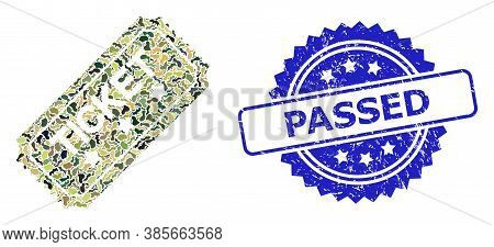 Military Camouflage Combination Of Ticket, And Passed Scratched Rosette Stamp Seal. Blue Stamp Has P