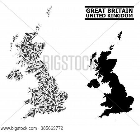 Syringe Mosaic And Solid Map Of United Kingdom. Vector Map Of United Kingdom Is Designed With Vaccin
