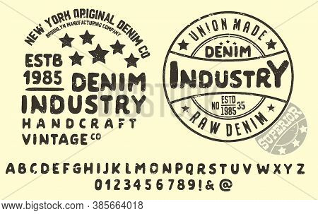 Original Vintage Denim Print  For T-shirt Or Apparel. Old School Vector Graphic For Fashion And Prin