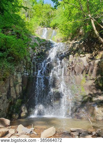 Saritoarea Waterfall In Stanija, Buces, Hunedoara County. Travel Destination Scene Of Beautiful Wate
