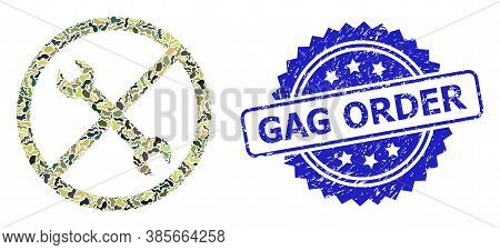 Military Camouflage Collage Of Forbidden Repair, And Gag Order Dirty Rosette Stamp Seal. Blue Stamp