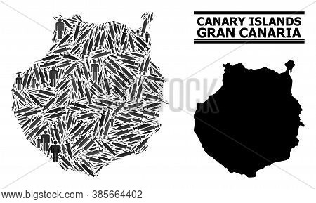Covid-2019 Treatment Mosaic And Solid Map Of Gran Canaria. Vector Map Of Gran Canaria Is Shaped From