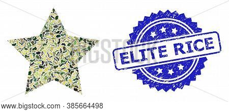 Military Camouflage Composition Of Red Star, And Elite Rice Unclean Rosette Stamp Seal. Blue Stamp S