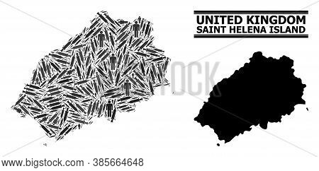 Virus Therapy Mosaic And Solid Map Of Saint Helena Island. Vector Map Of Saint Helena Island Is Crea