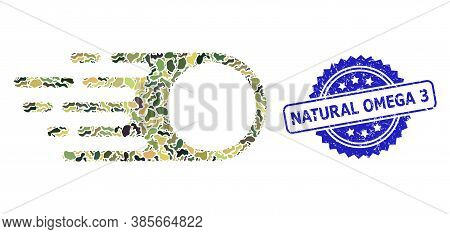 Military Camouflage Collage Of Photon Flight, And Natural Omega 3 Dirty Rosette Stamp. Blue Stamp Co